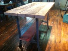 Reclaimed Wood And Pipe Table Rustic Modern Kitchen Island Or Table With Boiler…