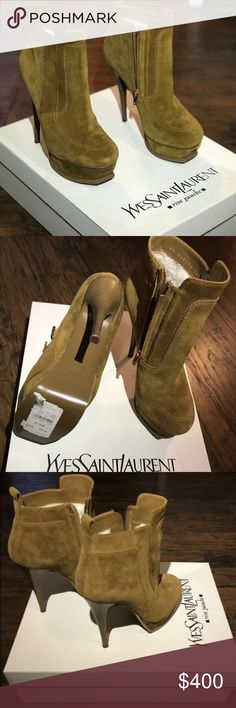 "YSL Suede shearling boots Great condition! 4"" platform, side zip boots. The shearling inside make these so comfortable to wear even without socks! Yves Saint Laurent Shoes Ankle Boots & Booties"