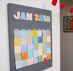 DIY family calendar. I love the post it!