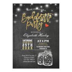 #bachelorette #party #invitations - #Elegant Mason Jar String Lights Bachelorette Party Card