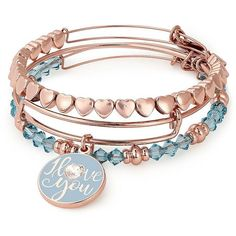 Alex and Ani Valentines Set Of Three Crystal I Love You Bracelet ($98) ❤ liked on Polyvore featuring jewelry, bracelets, rose gold, i love jewelry, charm bracelet, swarovski crystal bangle, crystal jewelry and expandable bangles