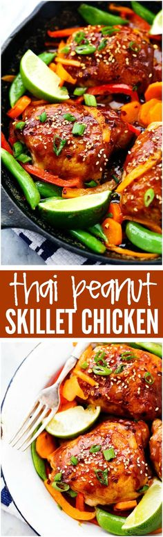 Thai Peanut Skillet Chicken - A 30-minute one skillet meal that is full of amazing flavor and veggies!