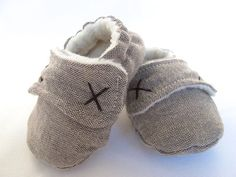 Boys Baby Booties, Boys Baby shoes - Fleece lined for winter in brown weave fabric. on Etsy, $26.00 AUD