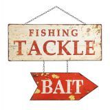 """Lakehouse Lifestyle - A fun fishing sign for the lake house. This kitschy pair of metal signs will add a rustic feel to your patio or den. Our pair of """"Bait"""" and """"Tackle"""" signs are 20"""" wide and 16"""" tall."""