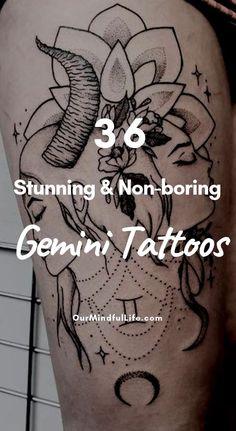 Gemini tattoo - 54 Stunning and Nonboring Gemini Tattoos – Gemini tattoo Gemini Zodiac Tattoos, Gemini Tattoo Designs, Horoscope Tattoos, Unique Tattoo Designs, Zodiac Signs Gemini, Unique Tattoos, Cute Tattoos, Art Designs, Gemini Sign Tattoo