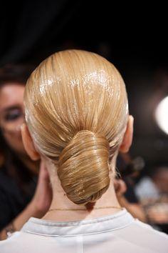 making beauty magic happen at the Alon Livne show. Chignon Bun, Sleek Ponytail, Sleek Hair, Wet Look Hair, Beauty Magic, Slick Hairstyles, Slicked Back Hair, Hairspray, Hair Makeup