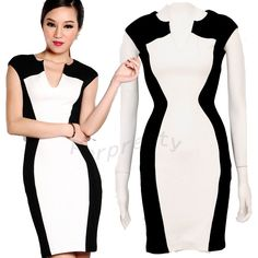 V Neck Optical Illusion Slimming Bodycon Pencil Party Business Stretch Dress | eBay