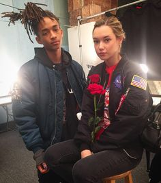 Spotted: Jaden Smith and Sarah Snyder backstage at HBA #NYFW(: @pseudante) by wwd