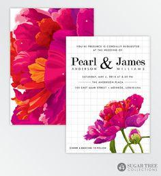 Floral Peony Wedding Invitation   Beautiful by SugarTreePaperie, $22.00