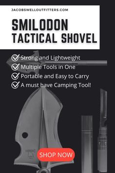 Use this shovel to dig, cut, saw, snap, strike, and more. This is the ultimate do-it-all survival tool that can help you do everything from dig a fire pit to become a tripod for your camera. The survival shovel is meant to do a wide variety of things all equally well, saving you space in your bag and keeping effective practicality within arm's reach. #tacticalshovel #survivalgear #shovel #campingessentials #campinggear #outdoorgear Best Survival Gear, Best Hiking Gear, Survival Essentials, Survival Tools, Camping Essentials, Camping Items, Camping Tools, Camping Life, Camping Equipment