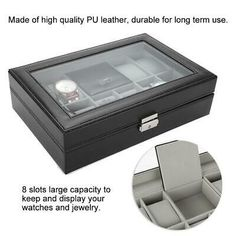 1 Jewelry Organizer Only. Elegant color and stylish design make it a great decor for your drawer. 8 slots large capacity to keep and display your watches and jewelry. If you do not receive our reply within 48 hours, pls. Ring Storage, Jewellery Storage, Jewelry Organization, Display Boxes, Display Case, Storage Boxes, Grid Watch, Leather Watch Box, Watch Display