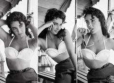 """Elizabeth Taylor posed in a series of flirtatious portraits while on the set of """"Giant"""" in 1956. The actress, who was 24 at the time, showed off her trim waist in a bikini top for the cute shots."""