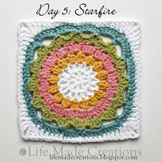 Day 5: Starfire block free crochet pattern on Life Made Creations at http://lifemadecreations.blogspot.com/2011/05/granny-day-five-six-seven-eight.html