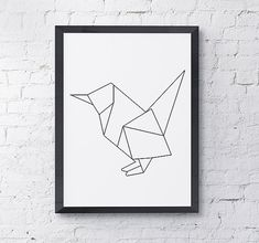 One of the first in our series of minimalistic black and white wall art. Check back for frequent additions! Bird Origami Home Decor Art Print