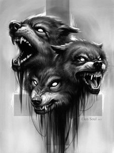 Incredible Wolves Tattoo Design By ElenSoul