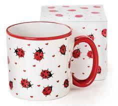Adorable Ladybug Coffee Mug Inexpensive Gift Item. Red Ladybug design surrounding mug. Lovely Ladybugs ceramic mugs with white interior. Ceramic Cafe, Ceramic Mugs, Pottery Painting, Ceramic Painting, Latte Mugs, Coffee Mugs, Coffee Shop, Ladybug Coloring Page, Hot Pads