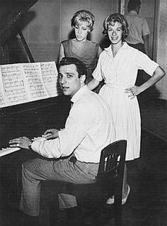 Brill Building writers Barry Mann at the piano, with Cynthia Weil (left) and Carole Kind, 1965.
