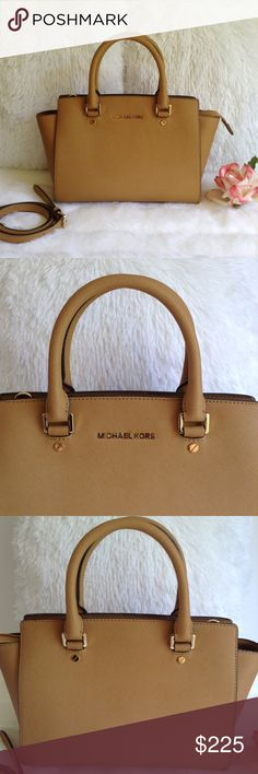 Michael Kors Medium Leather Satchel 💯 Authentic Michael Kors Leather Medium Satchel. Lightly used, sign of used at bottom feet. Adjustable/detachable long strap for shoulder or cross body use. Michael Kors Bags Satchels
