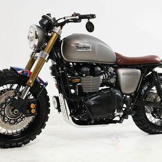 Look at a few of my most favorite builds - custom made scrambler bikes like this Honda Scrambler, Moto Bike, Cafe Racer Motorcycle, Motorcycle Pants, Motorcycle Camping, Bike Handlebars, Camping Gear, Triumph Cafe Racer, Triumph Motorcycles