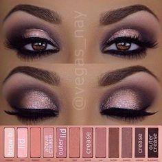 eye makeup using Naked 3 palette for dark skin tone