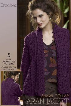 Needlecrafts - Crochet, Aran Style Copenhagen Jacket | free pattern here It amazes me how many women solely crochet ...