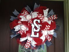 baseball theme deco mesh wreath St. Louis by KellumsKreations, $45.00