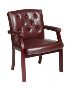 Traditional Mahogany Vinyl Wood Visitors Chair w/Padded Arms