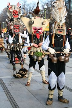 Kukeri/кукери a traditional Bulgarian ritual to scare away evil spirits, with costumed men performing.