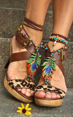 new PEACOCK FEATHER barefoot Sandals Oriental jewelry by GPyoga