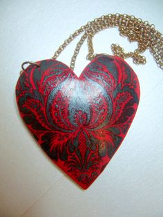polymer clay red heart pendant, part transfer part hand painted