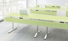 Work and train in style with Nevins' Slide Training tables. Featuring KrystalCast® top and matching modesty panel.