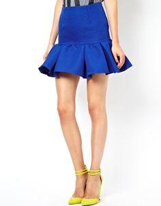 blue flouncy skirt