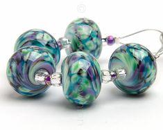 Celest Ripple 5  Handmade Lampwork Glass Beads by by SarahDownton
