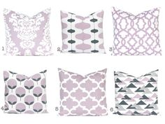 Lilac Pillow Covers Purple Pillows Floral by FestiveHomeDecor