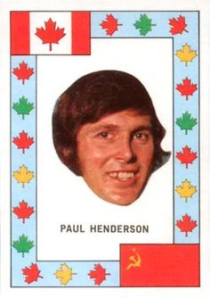 This has to be among the most odd hockey cards I've seen. Canada's Summit Series hero, represented by Paul Henderson's disembodied head.