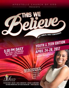 """Apostolic Church of God Annual Bible Conference """"Youth & Teen Edition"""" on April 24-28, 2017 ft Bible Study, Real Worship, Real Talk, Fun Activities, Snacks, Marissa Farrow & More! Location: 6320 S. Dorchester Ave, Chicago, IL 60637  For More Info: www.ACOG-Chicago.org"""