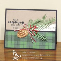 Christmas card by Natalie Lapakko with Pretty Pines thinlits and Warmth and Cheer DSP.
