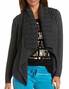 Cable Collar Knit Cardigan: Charlotte Russe
