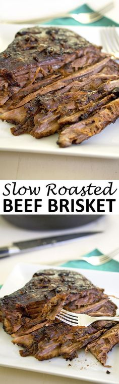 Oven Roasted Beef Brisket smothered with roasted vegetables, red wine, and beef stock. A perfect make ahead Sunday dinner. |