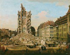 Bernardo Bellotto  Ruins of the Cross Church, Dresden, around 1765/67, canvas,  84.5 x 107.3 cm © 2013 Kunsthaus Zurich