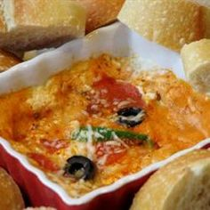 Hot Pizza Dip-I make this for my husband, it's his fave food to eat while watching sports! Allrecipes.com