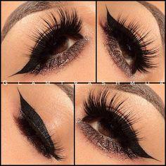 Winged liner lush eyelases #makeup
