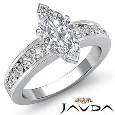 Marquise Diamond Semi Bezel Set Engagement Ring EGL E SI1 14k White Gold 1 7 Ct | eBay