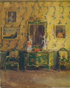 ◇ Artful Interiors ◇ paintings of beautiful rooms - Walter Gay ~ The Green Lacquer Room, Museo Correr, Venice, 1912/1922