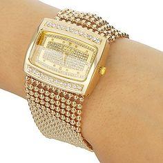 2014 la nueva manera de Oro / Plata Diamante carcasa de aleación de reloj de cuarzo mujeres del Rhinestone relojes de vestir de pulsera , dropshipping en Relojes de Pulsera de Relojes en AliExpress.com   Alibaba Group