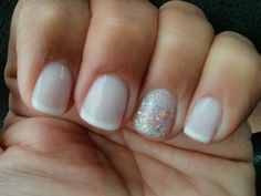 favorite: shape, length, design - all nails french tipped French gel manicure with a glitter accent nail!