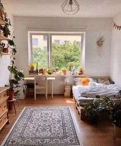 Green Apartment, Apartment Living, Deco Boheme, Aesthetic Room Decor, Dream Rooms, New Room, House Rooms, Cozy House, Bedroom Decor