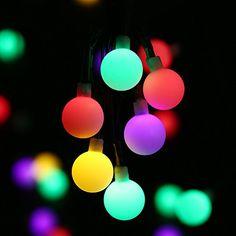 lederTEK Guirlande Lumineuse en forme de boule crème lumières led imperméable 7m 50 LEDs 8 modes pour extérieure, jardin, Accueil, Mariage,…