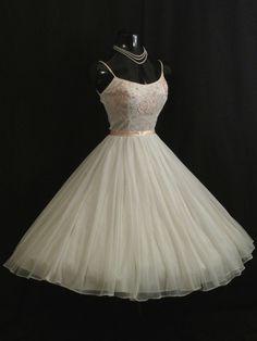Vintage 1950's 50s White Pink Embroidered Chiffon Organza Prom Wedding Dress