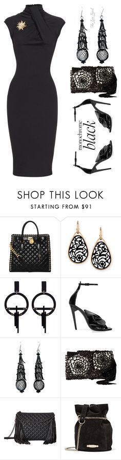 """Monochrome: All Black Everything"" by theseapearl ❤ liked on Polyvore featuring MICHAEL Michael Kors, Pomellato, Toolally, Yves Saint Laurent, Oscar de la Renta, Ash, Lanvin, Dsquared2, allblack and chicstyle"